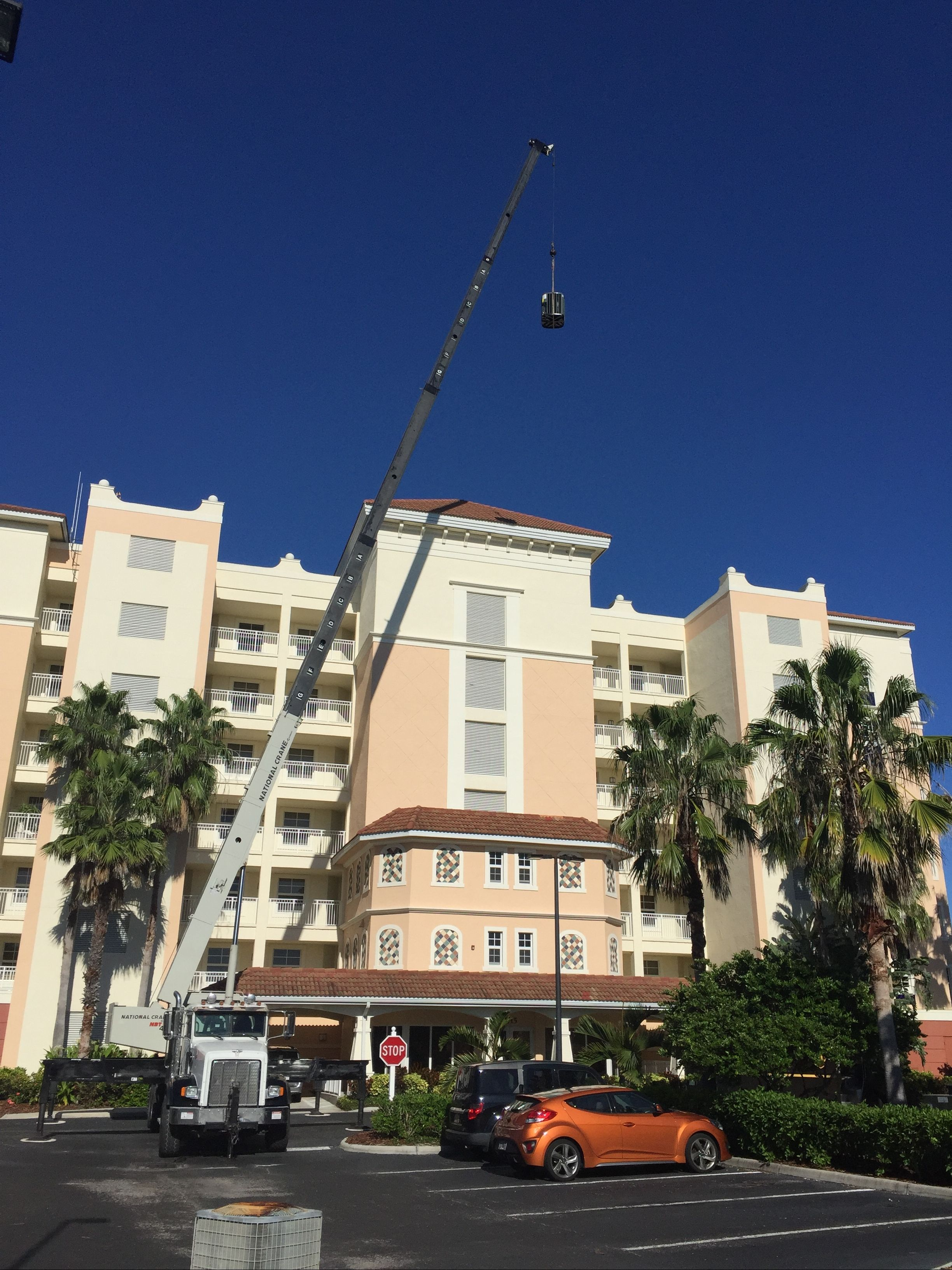 Air Conditioning unit being installed at a hotel in Sarasota.